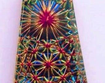 German Foil Glass, Kaleidoscope Pendant, #6177, 20mm X 10mm (SMALL), Volcano