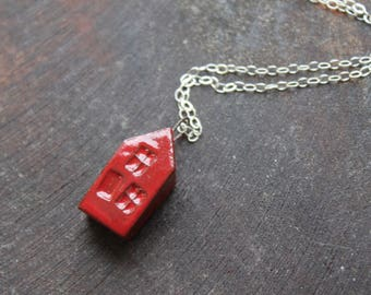 Ceramic Tiny House Necklace with Red Glaze on Sterling Silver Chain  Gift- Mother's Day
