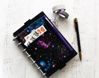 Galaxy planner - mini planner pouch with elastic - franken planner cover - chunky planner bag - galaxy bag - galaxy zippered pouch