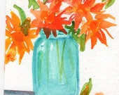 Sunflower Bouquet in Blue Mason Canning Jar watercolor painting, Original ART, ACEO