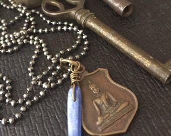 BUDDHA Necklace with KYANITE  gemstone VINTAGE Amulet on High Quality Antique Brass Ball Chain