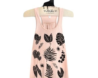Small- Peach Flowy Racerback Tank with Plant Print Screen Print