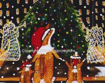 "PEMBROKE WELSH CORGI  Art Print  4"" X 4""  Christmas Corgi Art  ""Christmas in The City"" Holiday Corgi Art Christmas Tree Art New York City"