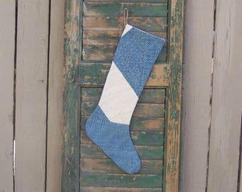 Farmhouse Christmas Stocking, Rustic Decor, Antique Quilt Stocking, Log Cabin Decor, Blue & White Farmhouse Decor