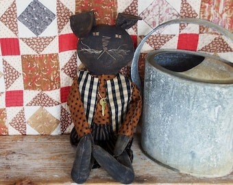 RESERVED for Laurie - Primitive Rabbit Doll, Black Rabbit, Boy Easter Rabbit, AAFA Cloth Doll, American Folk Art - Ready to Ship
