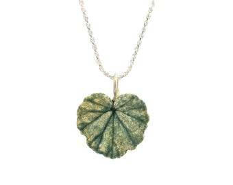 Tiny Enameled Geranium Leaf - Fine Silver, with optional Sterling Silver Chain