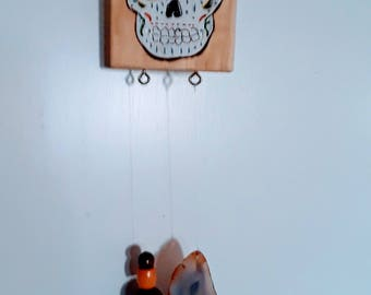 Sugar Skull on Wood with Bead and Agate Stone Windchime Home and Patio Decor