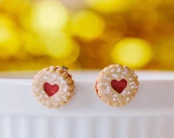 Linzer Heart Cookie Stud Earrings - polymer clay miniature food jewelry
