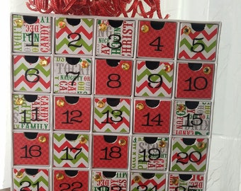 Advent Calendar - Contemporary Holiday Countdown - Chalkboard Subway Art and Chevron - Green and Red - Cardboard Christmas Decoration