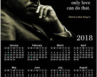 Martin Luther King, Jr. Quote 2018 Full Year View Calendar - Magnet or Wall #3824