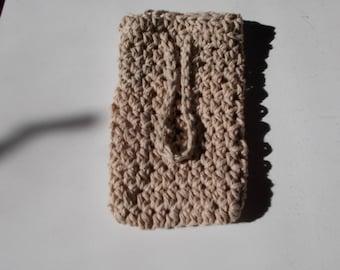 Soap Saver Sack-Cotton-Crochet, Soap Cozy, Soap bar holder, Bath and Body, Linen, Tan