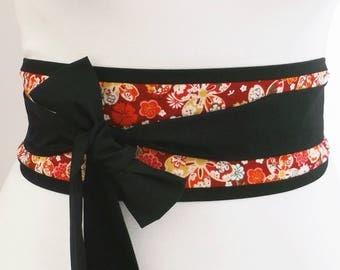 Obi belt sash - Burgundy Japanese floral with sakura cherry blossom - retro style - long sash waist wrap - kimono yukata dress belt