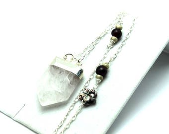 Quartz Point Necklace Natural Silver Leafed Iridescent Extra Long Sterling Chain Garnet Black Lip Shell Accents Moonstoe Arrow Pendulum