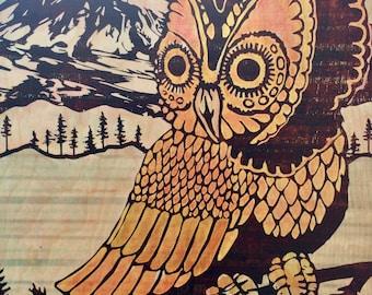 "Owl Volcano Pacific Northwest Fine Art Print On Hardwood Panel : ""Hunter"""