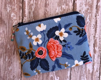 Floral Coin Purse Rifle Paper Co Small Pouch Blue Zipper Pouch Change Purse Gift Under 10