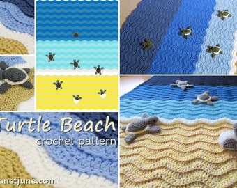 PDF Turtle Beach crochet blanket pattern + Baby Sea Turtle Collection amigurumi CROCHET PATTERNS