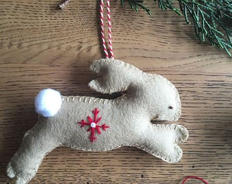 Make your own Bunny Ornament - PDF Pattern - felt ornament pattern, Dream of Bunnies - Sewing Pattern - Christmas Tree Ornament Pattern