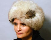 Transylvanian Fox Fur Cloche with Taxidermy Squirrel head & Vintage Dallas Jewelry
