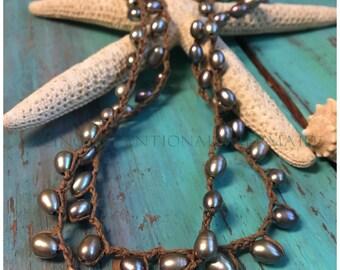 Boho Jewelry, Crochet Pearl Necklace, Crochet Pearl Bracelet, Wrap 5x Bracelet, Freshwater Pearl Sterling Silver Crochet Bracelet5x/Necklace