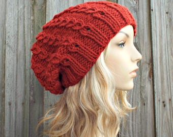 Knit Hat Womens Hat Slouchy Beanie - Eyelet Cable Slouchy Hat Redwood Red Knit Hat - Red Hat Red Beanie Red Winter Hat - READY TO SHIP