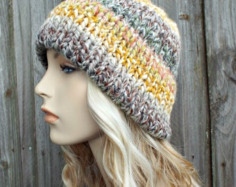 Mixed Color Womens Double Thick Brim Knit Hat - Warm Thick Winter Beanie - Coney Island - Rainbow Hat Rainbow Beanie - READY TO SHIP