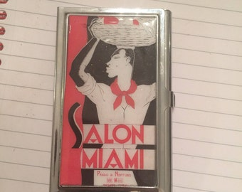 Retro 1950s Salon Miami Business Card Holder Credit Card Case