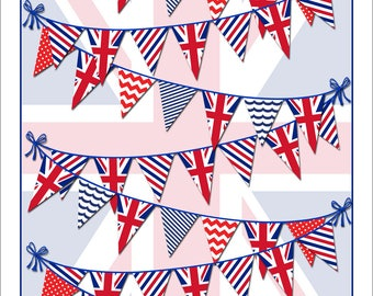 Festive Bunting Tea Towel, Featuring the Union Jack and Other Flags. Linen and Cotton Mix, Great Hostess Gift for the Summer!