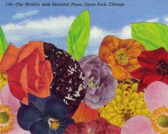 Floral Postcard, Chicago Art Collage, Multicolor Artwork, Colorful Flower Postcard, Chicago Postcard, Multicolored Art