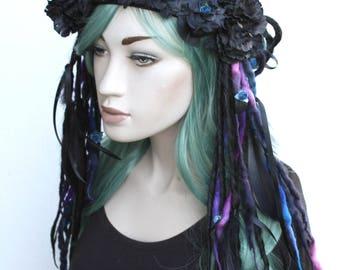 Voodoo Psytrance Black Dread Hippy Festival Gothic Fairy Head Dress Band Crown