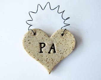Pa Heart Ornament - ceramic clay, personalized - handmade, ready to mail