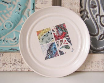 Abstract art ring dish, spoon rest or tea bag holder, glazed in white with colorful square tile art