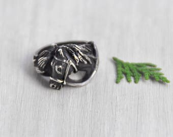 Vintage Sterling Silver Horse Head Ring - artisan handmade lost wax cast sturdy ring - equestrian jewelry -  Size 7