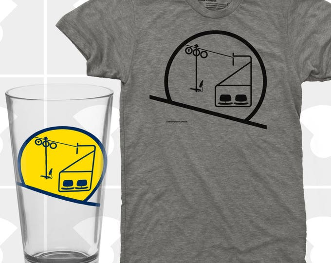 Featured listing image: Sunrise / Sunset Chairlift T Shirt & Pint Glass Set - Men