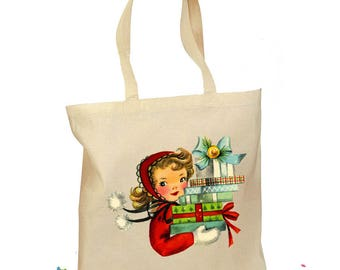 """Christmas Tote Bag - Christmas Gift Bag - """"Girl with Packages"""" - Retro Gift Canvas Vintage Personalized Canvas Bag - Mid Century Christmas"""