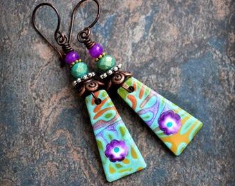 Purple flower. Colorful Artisan made earrings. Colorful boho earrings. Handmade beads, antiqued solid copper.  Purple teal.