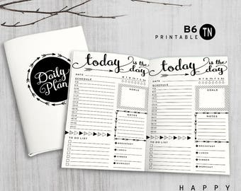 Printable B6 Insert - B6 Traveler's Notebook Insert - B6 daily insert, Daily Traveler's Notebook Insert - Arrow