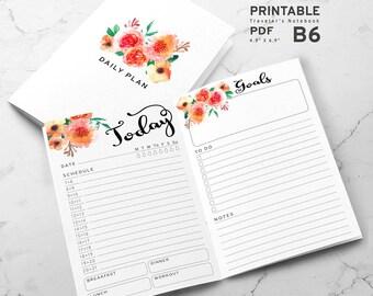 Printable B6 Insert - B6 Traveler's Notebook Insert - B6 daily insert, Daily Traveler's Notebook Insert - Watercolor Flower