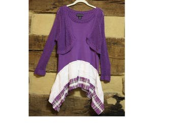 Upcycled Clothing Womens Tunic Top Upcycled Boho Chic Hippie Clothes Purple Crochet Long Sleeve Lagenlook  Top