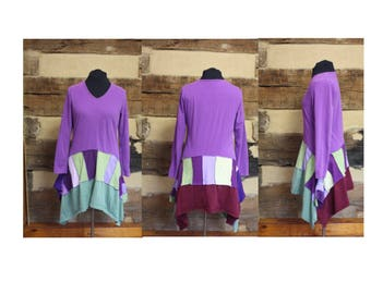 Lagenlook Womens Tshirt Tunic Top or Dress Upcycled Patchwork Style Festival Wear Shabby Boho Chic Hippie Clothing