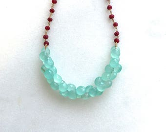Painfully Chic Peruvian Blue Chalcedony, Ruby Demi Cluster Necklace...