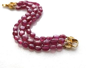 Supreme Pink Sapphire Polished Nugget 3 Strand Bracelet with Vintage Gold Clasp...