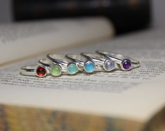 Stacking Small Gemstone Rings