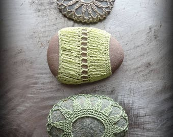 Crochet Lace Stones, Collection of 3, Handmade Original, Miniature, Small Green, Table Decorations, Gift Set, Crocheted Stones, Home Monicaj