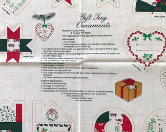 Vintage Fabric Panel to stuff and sew a Christmas Tag Ornaments by Hallmark , Make 13 ornaments,  Free US Shipping