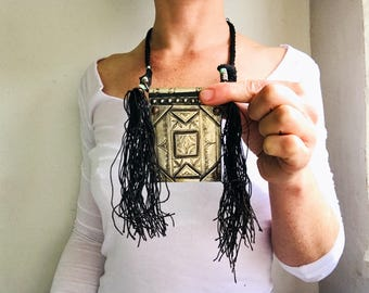 Tuareg Amulet and Tassels Necklace.  Silver Alloy and Leather.