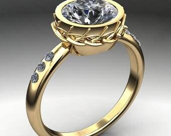 elle ring – 1.5 carat diamond cut round NEO moissanite engagement ring, diamond accents