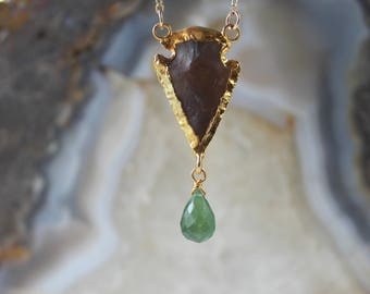 CLEARANCE arrowhead necklace, pyrite necklace, serpentine necklace, pyrite chain, boho, layering necklace, gifts for her, gold necklace