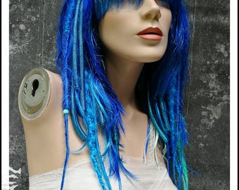 SALE Mermaid Hair Dread Wig blue turquoise with Lace Dreads Dreadlocks Twists twisted goth gothic cyber emo Cosplay Ocean Sea Cyberlox
