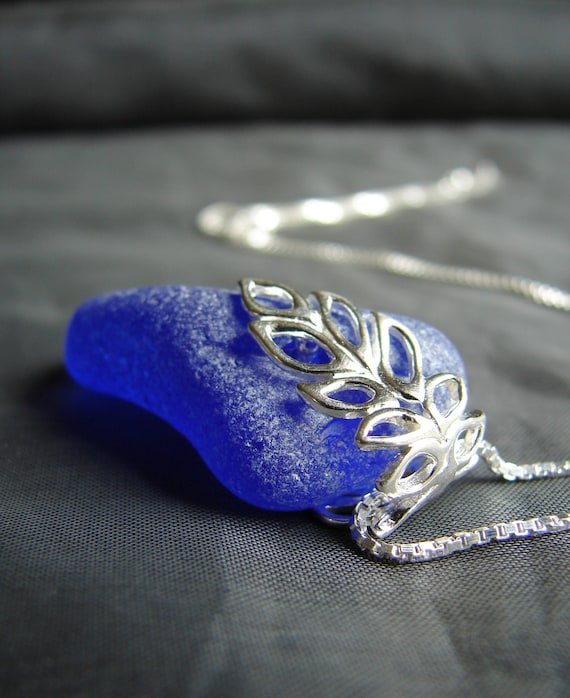 Lagoon sea glass necklace in cobalt blue