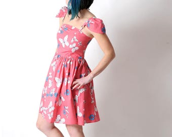Pink butterfly dress, Pink summer dress with straps or cap sleeves, Pink cotton short dress with butterflies, Pink women dresses, MALAM, UK8